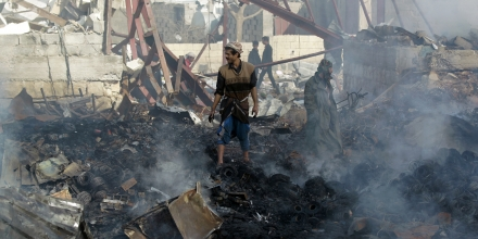 Yemenis inspect the damage at a sewing workshop that was hit by a Saudi-led coalition air strike in the capital Sanaa, on February 14, 2016.The factory owner, Faisal al-Musaabi, told AFP that two employees, including a 14-year-old boy, were killed and 15 others wounded in the overnight air raid. / AFP / MOHAMMED HUWAIS (Photo credit should read MOHAMMED HUWAIS/AFP/Getty Images)