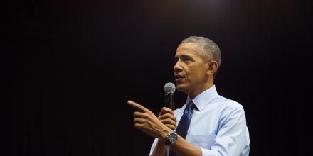 US President Barack Obama speaks at the Young Southeast Asian Leaders Initiative town hall event in Ho Chi Minh City on May 25, 2016.Obama urged communist Vietnam on May 24 to abandon authoritarianism, saying basic human rights would not jeopardise its stability, after Hanoi barred several dissidents from meeting the US leader. / AFP / JIM WATSON (Photo credit should read JIM WATSON/AFP/Getty Images)