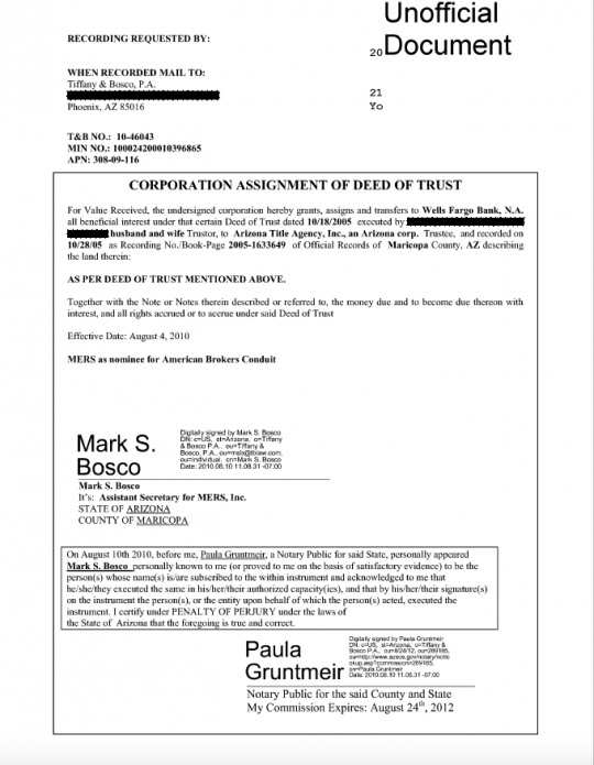 mers assignment of deed of trust