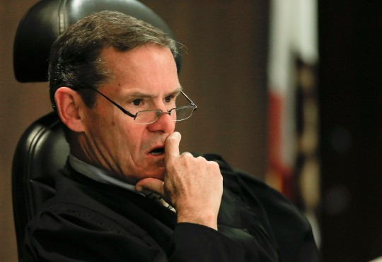 Judge Thomas Goethals listens to arguements during a motion hearing in the trial of Scott Dekraai , on March 18, 2014 in Santa Ana, California.