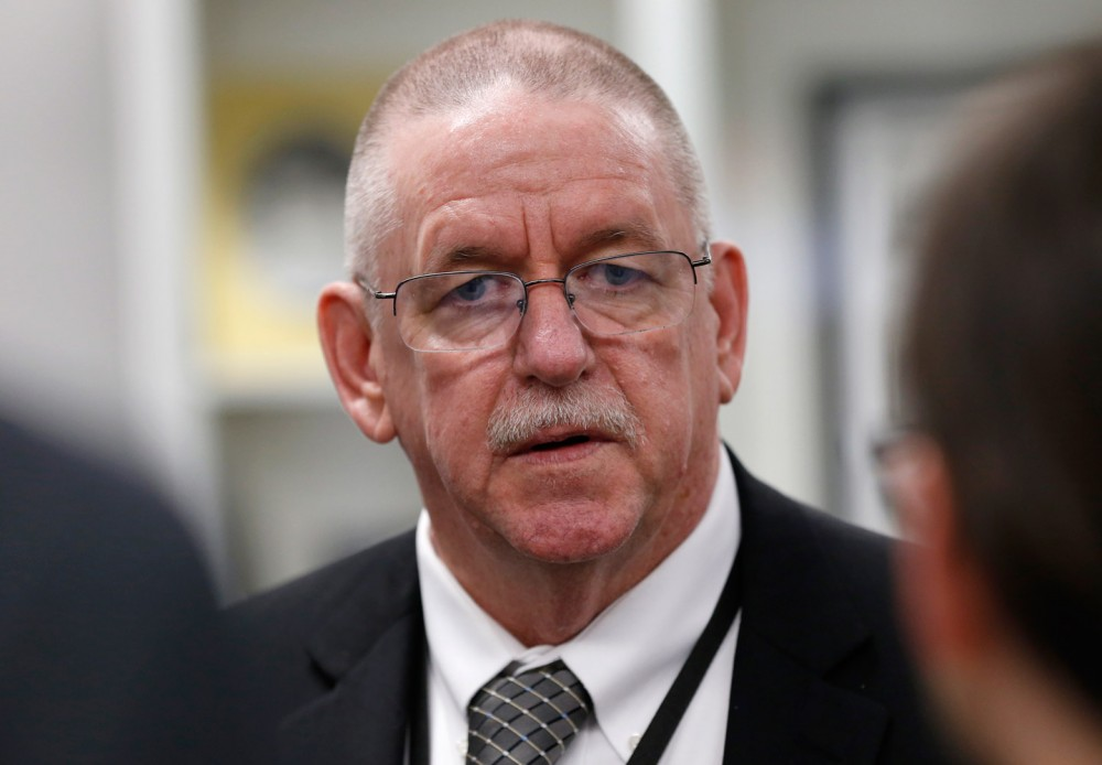 Oklahoma Department of Corrections Director Robert Patton answers questions from reporters in Oklahoma City, Thursday, Jan. 8, 2015. Patton said he's confident in the ability of his staff to carry out the first lethal injection in Oklahoma since one went awry in April. Charles Warner is scheduled to be executed Jan. 15, 2015 for the 1997 killing of his roommate's 11-month-old daughter. (AP Photo/Sue Ogrocki)