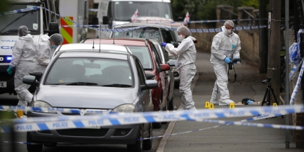 BIRSTALL, ENGLAND - JUNE 16:  Forensic police examine the crime scene after Jo Cox, 41, Labour MP for Batley and Spen, was shot and stabbed by an attacker at her constituicency on June 16, 2016 in Birstall, England. A man also suffered slight injuries during the attack. Jo Cox has died after being shot and repeatedly stabbed while holding her weekly surgery at Birstall Library, Birstall near Leeds.  A 53-year old man has been arrested in connection with the crime.  (Photo by Christopher Furlong/Getty Images)