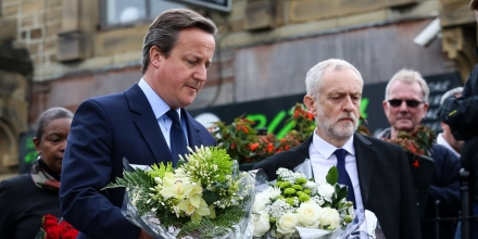 Prime Minister David Cameron, Labour Leader Jeremy Corbyn lay flowersTributes left at the scene where Jo Cox MP was killed, Birstall, Yorkshire, UK - 17 Jun 2016 (Rex Features via AP Images)