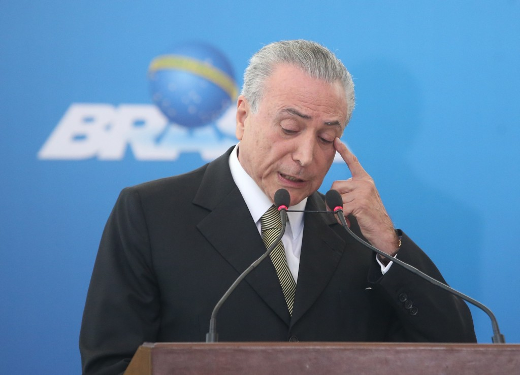 "The incumbent president, Michel Temer, during inauguration ceremony of the presidents of public banks and Petrobras, in Planalto Palace, in Brasilia, capital of Brazil, on 1 June 2016. Fearing used the event to take stock of the first days of his interim government and highlight the ""scenario"" in which he found the country after the departure of President Dilma Rousseff. Photo: ANDRE DUSEK/ESTADAO CONTEUDO (Agencia Estado via AP Images)"