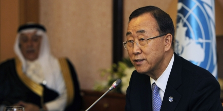 UN chief Ban Ki-moon addresses the second meeting of the advisory board of the newly established UN Counter-Terrorism Centre in the Saudi coastal city of Jeddah on June 3, 2012. The UN chief called for broad international talks on the rising Syrian crisis, urging Security Council members to consider Arab League demands for stronger UN action in the strife-torn country. AFP PHOTO/AMER HILABI        (Photo credit should read AMER HILABI/AFP/GettyImages)