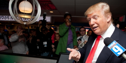 PORTSMOUTH, NH - APRIL 27:  Donald Trump talks to customers at the Roundabout Diner on April 27, 2011 in Portsmouth, New Hampshire. Trump is testing the waters for a possible run for the Republican Presidential nomination, and addressed US President Barack Obama's release of his original birth certificate earlier that morning.  (Photo by Matthew Cavanaugh/Getty Images)