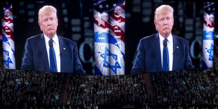 US Republican presidential hopeful Donald Trump speaks during the American Israel Public Affairs Committee (AIPAC) 2016 Policy Conference at the Verizon Center in Washington, DC, March 21, 2016. / AFP / SAUL LOEB        (Photo credit should read SAUL LOEB/AFP/Getty Images)