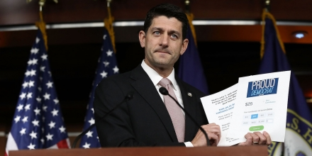 WASHINGTON, DC - JUNE 23:  U.S. Speaker of the House Paul Ryan (R-WI) holds up fundraising literature produced by House Democrats during a press conference at the U.S. Capitol June 23, 2016 in Washington, DC. Ryan addressed the continuing sit-in on the floor of the House of Representatives by members of the House Democratic caucus during his remarks.  (Photo by Win McNamee/Getty Images)