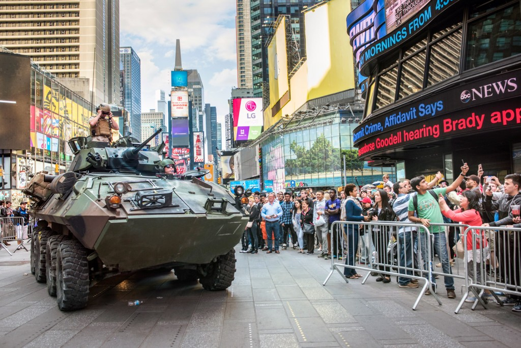 US Marines in Times Square for Fleet Week  - demonstration weapons including rifles and arriving in an armored personnel carrier