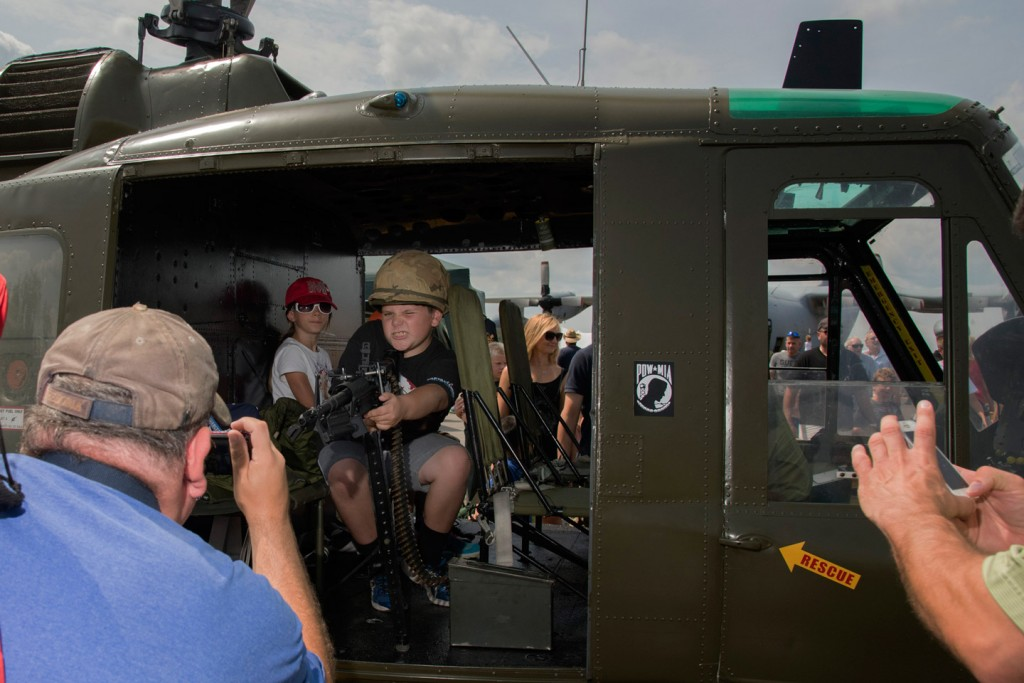 Taking Aim from Vietnam Era Helicopter, NY Air Show - Newburgh, Ft. Stewart,  NY. 2015