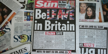 An arrangement of newspapers pictured in London on June 14, 2016 shows the front page of the Sun daily newspaper with a headline urging readers to vote 'Leave' in the June 23 EU referendum. Britain's most-read newspaper The Sun urged readers to vote to leave the European Union in an editorial splashed across its front page in the colours of the Union Jack. The Sun, part of the media empire of US-Australian mogul Rupert Murdoch, is credited with generally backing the winning side and famously claimed to have swung a general election in 1992. / AFP / Daniel SORABJI (Photo credit should read DANIEL SORABJI/AFP/Getty Images)