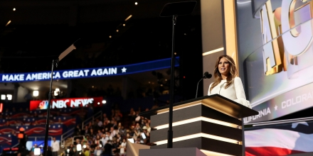 CLEVELAND, OH - JULY 18:  Melania Trump, wife of Presumptive Republican presidential nominee Donald Trump, delivers a speech on the first day of the Republican National Convention on July 18, 2016 at the Quicken Loans Arena in Cleveland, Ohio. An estimated 50,000 people are expected in Cleveland, including hundreds of protesters and members of the media. The four-day Republican National Convention kicks off on July 18.  (Photo by Joe Raedle/Getty Images)