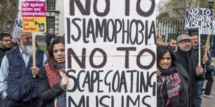 Muslims gather to accuse the UK Government of racism and scapegoating MuslimsIslamophobia Protest in Whitehall, London, Britain - 25 Apr 2016The event was supported by several Muslim groups but convened by the Friends of Alaqsa. (Rex Features via AP Images)