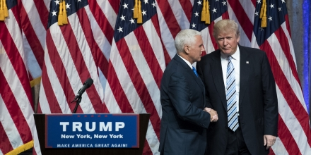 NEW YORK, NY - JULY 16: Republican presidential candidate Donald Trump (R) stands with his newly selected vice presidential running mate Mike Pence (L), governor of Indiana, at the end of an event at the Hilton Midtown Hotel, July 16, 2016 in New York City. On Friday, Trump announced on Twitter that he chose Pence to be his running mate. (Photo by Drew Angerer/Getty Images)