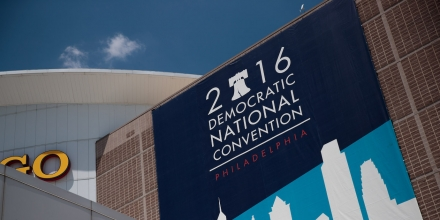 PHILADELPHIA, PA - JULY 21: Democratic National Convention signage is displayed outside the Wells Fargo Center, July 21, 2016 in Philadelphia, Pennsylvania. The Democratic National Convention will formally kick off on Monday. (Photo by Drew Angerer/Getty Images)