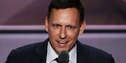 CLEVELAND, OH - JULY 21:  Peter Thiel, co-founder of PayPal,  delivers a speech during the evening session on the fourth day of the Republican National Convention on July 21, 2016 at the Quicken Loans Arena in Cleveland, Ohio. Republican presidential candidate Donald Trump received the number of votes needed to secure the party's nomination. An estimated 50,000 people are expected in Cleveland, including hundreds of protesters and members of the media. The four-day Republican National Convention kicked off on July 18.  (Photo by Alex Wong/Getty Images)