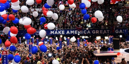 Ballons fall after Republican presidential candidate Donald Trump spoke and accepted the party nomination on the last day of the Republican National Convention on July 21, 2016, in Cleveland, Ohio. / AFP / Robyn BECK        (Photo credit should read ROBYN BECK/AFP/Getty Images)