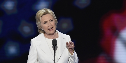 Democratic presidential nominee Hillary Clinton addresses delegates during the fourth and final night of the Democratic National Convention at Wells Fargo Center on July 28, 2016 in Philadelphia, Pennsylvania.   / AFP / SAUL LOEB        (Photo credit should read SAUL LOEB/AFP/Getty Images)