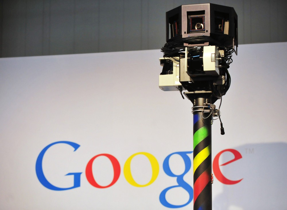 The camera of a street-view car, used to photograph whole streets, can be seen on the Google street-view stand at the world's biggest high-tech fair, the CeBIT on March 3, 2010 in the northern German city of Hanover. Some 4,157 companies from 68 countries are displaying their latest gadgets at the fair taking place from March 2 to 6, 2010. AFP PHOTO DANIEL MIHAILESCU (Photo credit should read DANIEL MIHAILESCU/AFP/Getty Images)