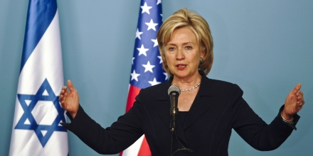 US Secretary of State Hillary Clinton speaks during a joint press conference with Israeli Prime Minister Benjamin Netanyahu (not seen) in Jerusalem on October 31, 2009. Clinton hailed Netanyahu's stance on West Bank settlements as