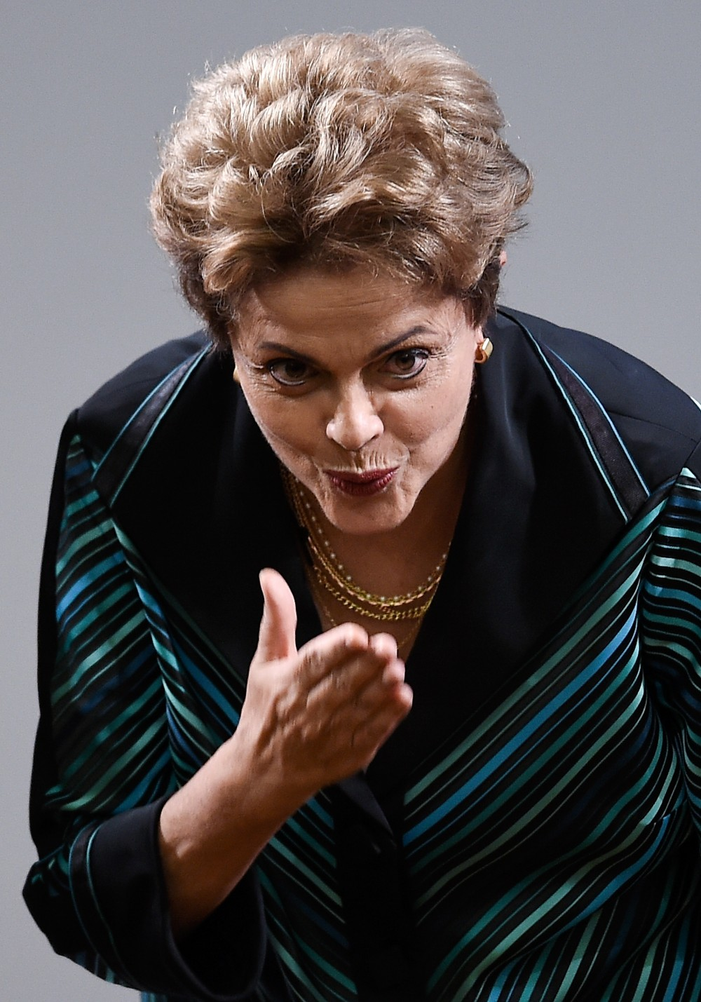 BRASILIA, BRAZIL - JULY 03:  Brazilian President Dilma Roussef gestures during a ceremony for presents the Olympic Torch and Relay Route of the Rio 2016 Olympic Games on July 3, 2015 in Brasilia, Brazil.  (Photo by Buda Mendes/Getty Images)