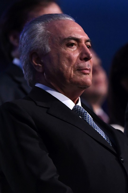Brazil's acting President Michel Temer attends the opening ceremony of the Rio 2016 Olympic Games at Maracana Stadium in Rio de Janeiro on August 5, 2016. / AFP / Kirill KUDRYAVTSEV        (Photo credit should read KIRILL KUDRYAVTSEV/AFP/Getty Images)