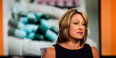 Heather Bresch, chief executive officer of Mylan NV, speaks during a Bloomberg Television interview in New York, U.S., on Thursday, Aug. 6, 2015. Bresch discussed the generic drugmaker's second-quarter profit and share price, mergers and acquisitions in the pharmaceutical industry, the failed takeover bid for Mylan by Teva Pharmaceuticals Industries Ltd. and Mylan's own bid for Perrigo Co. Photographer: Chris Goodney/Bloomberg via Getty Images