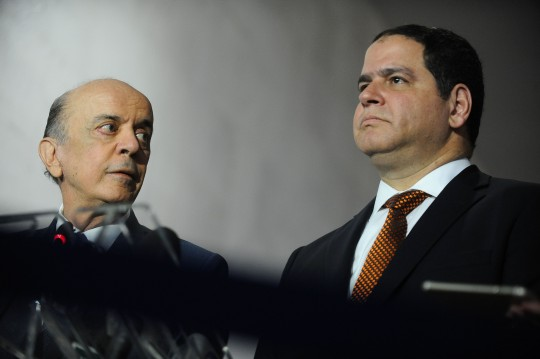 Brazilian Foreign Minister Jose Serra (L), the president of the Foreign Affairs Committee of the Venezuelan National Assembly, Venezuelan Deputy Luis Florido (R), and the political coordinator of Venezuelan party Voluntad Popular (Popular Will) Carlos Vecchio (out of frame) take part in a joint press conference at the Itamaraty Palace, in Brasilia, August 17, 2016.  / AFP / Andressa Anholete        (Photo credit should read ANDRESSA ANHOLETE/AFP/Getty Images)