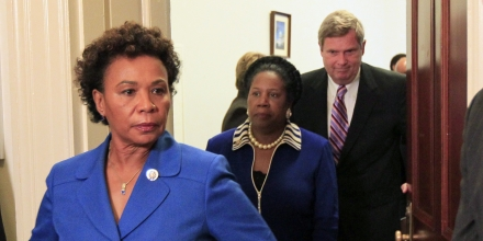 Congressional Black Caucus Chairwoman Rep. Barbara Lee, D-Calif., left, Rep. Sheila Jackson Lee, D-Texas, and Secretary of Agriculture Tom Vilsack, walk out after their meeting on Capitol Hill in Washington, Wednesday, July 21, 2010.(AP Photo/Alex Brandon)