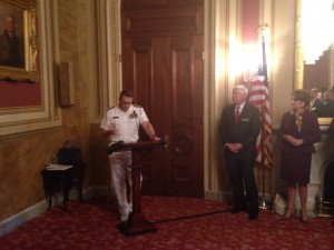 Vice Admiral Joseph Ricksey Speaks Next to David Melcher, AIA President and CEO
