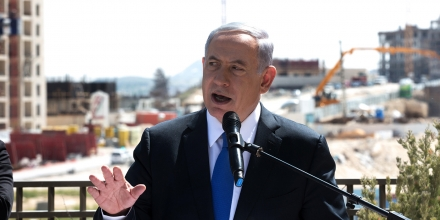 Israeli Prime Minister and Likud party's candidate running for general elections, Benjamin Netanyahu gives a statement to the press during his visit in Har Homa, an Israeli settlement neighbourhood of annexed east Jerusalem, on March 16, 2015 on the eve of Israels general elections. AFP PHOTO / MENAHEM KAHANA        (Photo credit should read MENAHEM KAHANA/AFP/Getty Images)