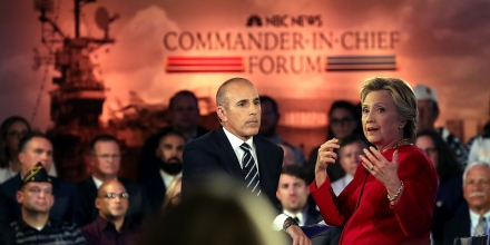 NEW YORK, NY - SEPTEMBER 07:  Matt Lauer looks on as Democratic presidential nominee Hillary Clinton speaks during the NBC News Commander-in-Chief Forum on September 7, 2016 in New York City. Clinton and Republican presidential nominee Donald Trump are participating in the NBC News Commander-in-Chief Forum.  (Photo by Justin Sullivan/Getty Images)