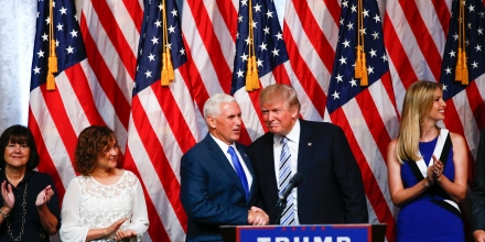 US Republican presidential candidate Donald Trump (R) joins vice presidential candidate Mike Pence onstage after a press conference in New York on July 16, 2016.   / AFP / KENA BETANCUR        (Photo credit should read KENA BETANCUR/AFP/Getty Images)
