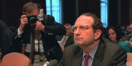 A photographer closes in on CIA Director John Deutch on Capitol Hill Thursday Feb. 22, 1996 prior to a hearing of the Senate Intelligence Committee. Deutch refused to rule out using U.S. journalists as spies when American lives are at stake or there is an imminent threat of the use of weapons of mass destruction. (AP Photo/Dennis Cook)