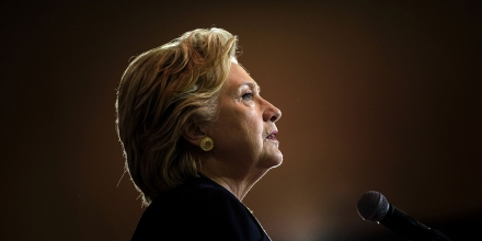 TOPSHOT - Democratic presidential nominee Hillary Clinton speaks during a North Carolina Democratic Party Rally at Wake Technical Community College September 27, 2016 in Raleigh, North Carolina. / AFP / Brendan Smialowski        (Photo credit should read BRENDAN SMIALOWSKI/AFP/Getty Images)
