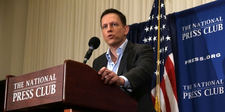 WASHINGTON, DC - OCTOBER 31:  Entrepreneur Peter Thiel gives remarks at the National Press Club on October 31, 2016 in Washington, DC. Thiel discussed his support for Republican presidential nominee Donald Trump.  (Photo by Alex Wong/Getty Images)