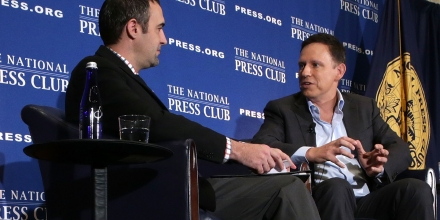 WASHINGTON, DC - OCTOBER 31:  Entrepreneur Peter Thiel (R) participates in a discussion with National Press Club president and Washington correspondent for the Salt Lake Tribune Thomas Burr (L) at the National Press Club on October 31, 2016 in Washington, DC. Thiel discussed his support for Republican presidential nominee Donald Trump.  (Photo by Alex Wong/Getty Images)