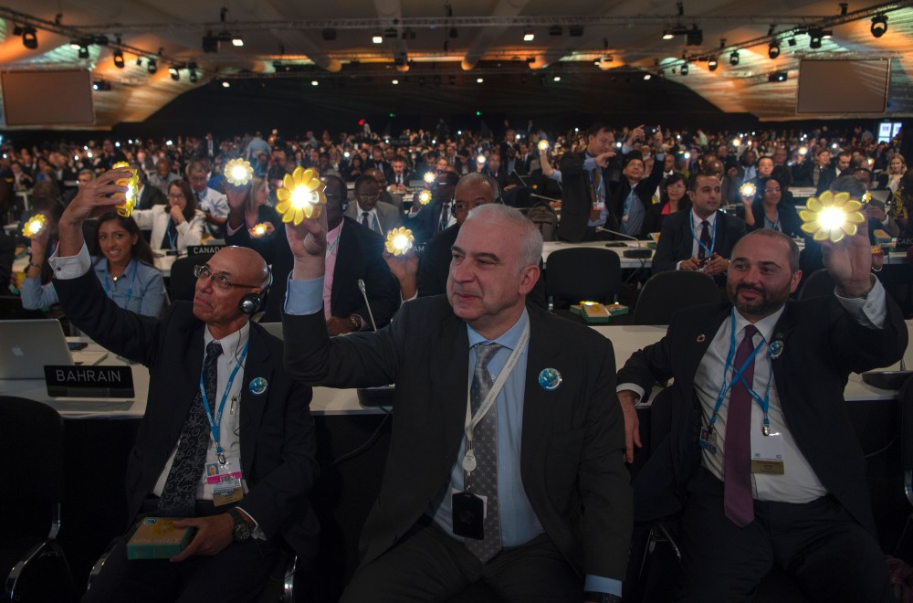 Delegates attend the opening session of the COP22 climate talks in Marrakesh on November 7, 2016.<br /><br /><br /><br /><br /><br /><br /><br /><br /><br /><br /><br /><br /><br /><br /><br /><br /><br /><br /><br /> UN talks to implement the landmark Paris climate pact opened in Marrakesh, buoyed by gathering momentum but threatened by the spectre of climate change denier Donald Trump in the White House. / AFP / FADEL SENNA        (Photo credit should read FADEL SENNA/AFP/Getty Images)