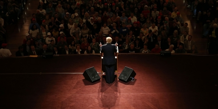 CARMEL, IN - MAY 02:  Republican presidential candidate Donald Trump speaks during a campaign stop at the Palladium at the Center for the Performing Arts on May 2, 2016 in Carmel, Indiana. Trump continues to campaign leading up to the Indiana primary on May 3.  (Photo by Joe Raedle/Getty Images)
