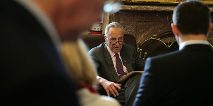 WASHINGTON, DC - MAY 14:  U.S. Sen. Charles Schumer (D-NY) speaks to members of the media May 14, 2015 at the Capitol in Washington, DC. The Senate has approved a measure to crack down on currency manipulation by trading partners.  (Photo by Alex Wong/Getty Images)