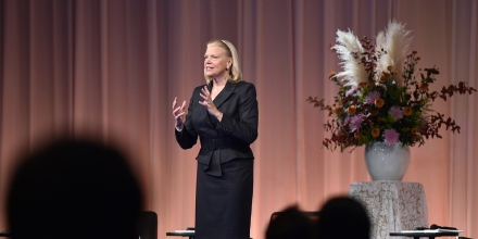 IBM Corporation Chairman Virginia Rometty delivers a speech at the 16th Nikkei Global Management Forum in Tokyo on November 11, 2014. Rometty spoke on the session titled