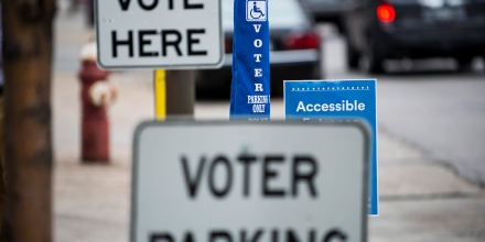 MINNEAPOLIS, MN - SEPTEMBER 23: Signage at an early voting center on September 23, 2016 in Minneapolis, Minnesota. Minnesota residents can vote in the general election every day until Election Day on November 8. (Photo by Stephen Maturen/Getty Images)