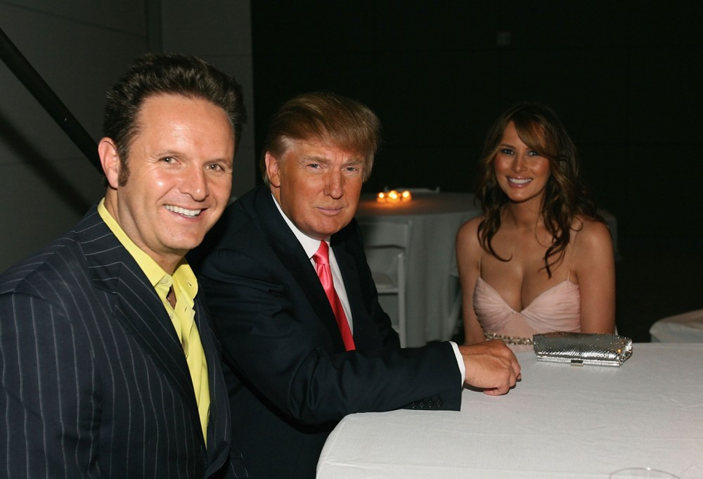 "LOS ANGELES, CA - JUNE 05:  (L-R) Producer Mark Burnett, entrepreneur Donald Trump and wife Melania Trump attend the after party for the Season Five Finale of ""The Apprentice"" at the California Market Center on June 5, 2006 in Los Angeles, California.  (Photo by Michael Buckner/Getty Images)"