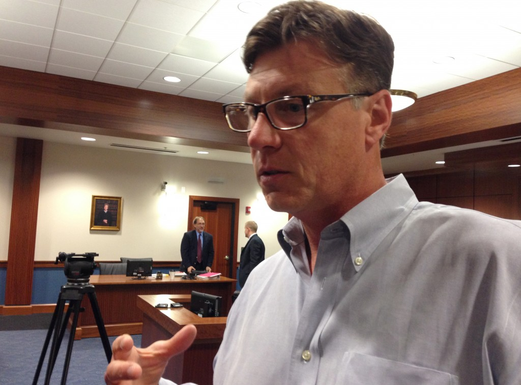 Republican state Sen. Brandon Smith, of Hazard, speaks with members of the media Friday, May 22, 2015, after a Franklin County, Ky., jury found him not guilty of driving under the influence of alcohol. The jury took about 10 minutes to find the Hazard Republican not guilty for driving under the influence of alcohol on the first day of the 2015 legislative session. (AP Photo/Adam Beam)