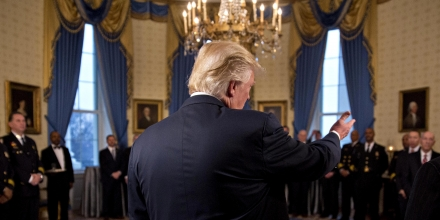 WASHINGTON, DC - JANUARY 22: U.S. President Donald Trump speaks during an Inaugural Law Enforcement Officers and First Responders Reception in the Blue Room of the White House on January 22, 2017 in Washington, DC. Trump today mocked protesters who gathered for large demonstrations across the U.S. and the world on Saturday to signal discontent with his leadership, but later offered a more conciliatory tone, saying he recognized such marches as a