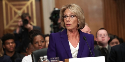 WASHINGTON, DC - JANUARY 17:  Betsy DeVos, President-elect Donald Trump's pick to be the next Secretary of Education, testifies during her confirmation hearing before the Senate Health, Education, Labor and Pensions Committee in the Dirksen Senate Office Building on Capitol Hill  January 17, 2017 in Washington, DC. DeVos is known for her advocacy of school choice and education voucher programs and is a long-time leader of the Republican Party in Michigan.  (Photo by Chip Somodevilla/Getty Images)