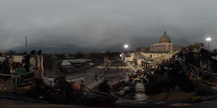 WASHINGTON, DC - JANUARY 20: (EDITOR'S NOTE: Image was created as an Equirectangular Panorama. Import image into a panoramic player to create an interactive 360 degree view.)  Preparations are made for the inauguration at the U.S. Capitol on January 20, 2017 in Washington, DC. Donald J. Trump will become the 45th President of the United States. (Photo by Chip Somodevilla/Getty Images)