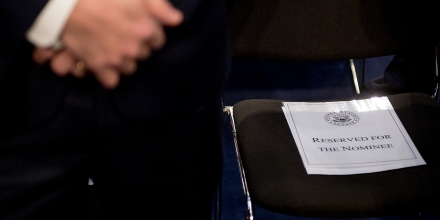 WASHINGTON, DC - JANUARY 28: The seat marked for U.S. attorney general nominee Loretta Lynch before she  appears for her confirmation hearing at the Senate Judiciary Committee on Capitol Hill on January 28, 2015 in Washington, DC. (Photo by Andrew Harnik for The Washington Post via Getty Images)