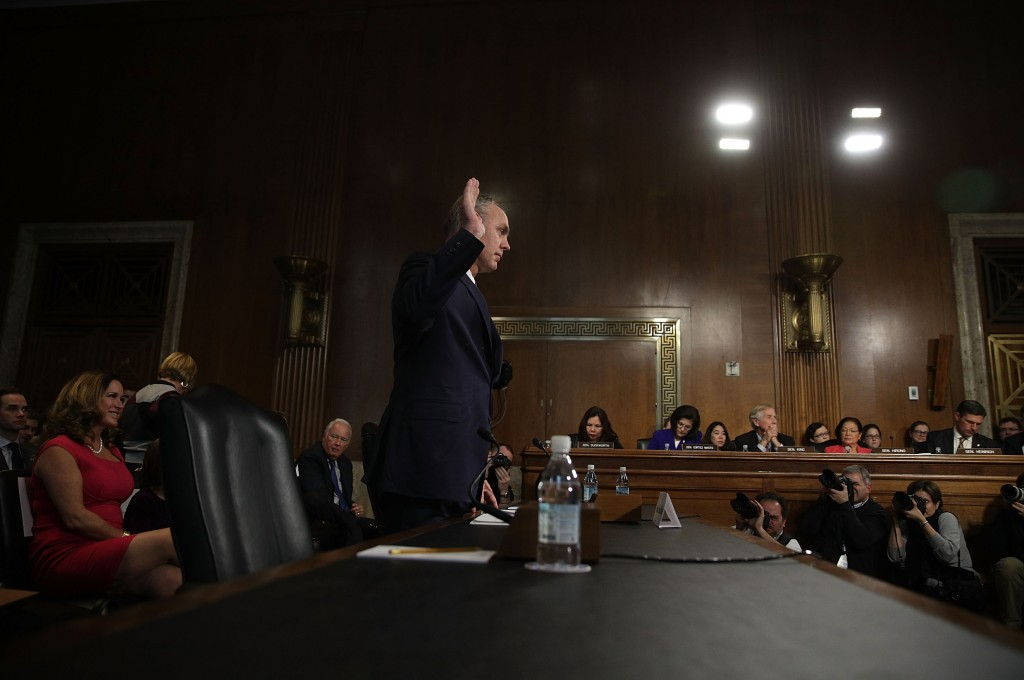 WASHINGTON, DC - JANUARY 17:  U.S. Secretary of Interior nominee, Rep. Ryan Zinke (R-MT), is sworn in during his confirmation hearing before Senate Energy and Natural Resources Committee January 17, 2017 on Capitol Hill in Washington, DC. The former Navy SEAL commander is expected to face questions on whether federal government can transfer land to states or private ownership.  (Photo by Alex Wong/Getty Images)