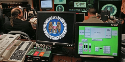 Fort Meade, UNITED STATES:  A computer workstation bears the National Security Agency (NSA) logo inside the Threat Operations Center inside the Washington suburb of Fort Meade, Maryland, intelligence gathering operation 25 January 2006 after US President George W. Bush delivered a speech behind closed doors and met with employees in advance of Senate hearings on the much-criticized domestic surveillance.   AFP PHOTO/Paul J. RICHARDS  (Photo credit should read PAUL J. RICHARDS/AFP/Getty Images)